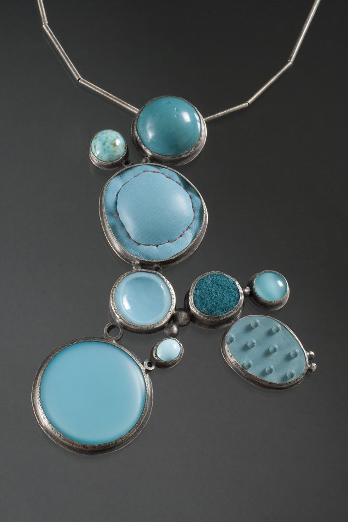 blue collage neckpiece