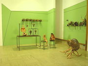 Museum Installation. Variable Dimensions copper, steel, stools, glass, paint 1