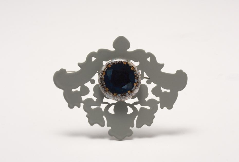 Brooch with Gemstone Button