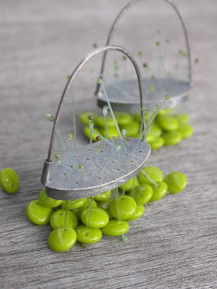 acid green ovoid polyp earrings