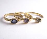 African Sapphire Skinny Rings