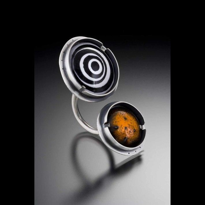 orange black double ring