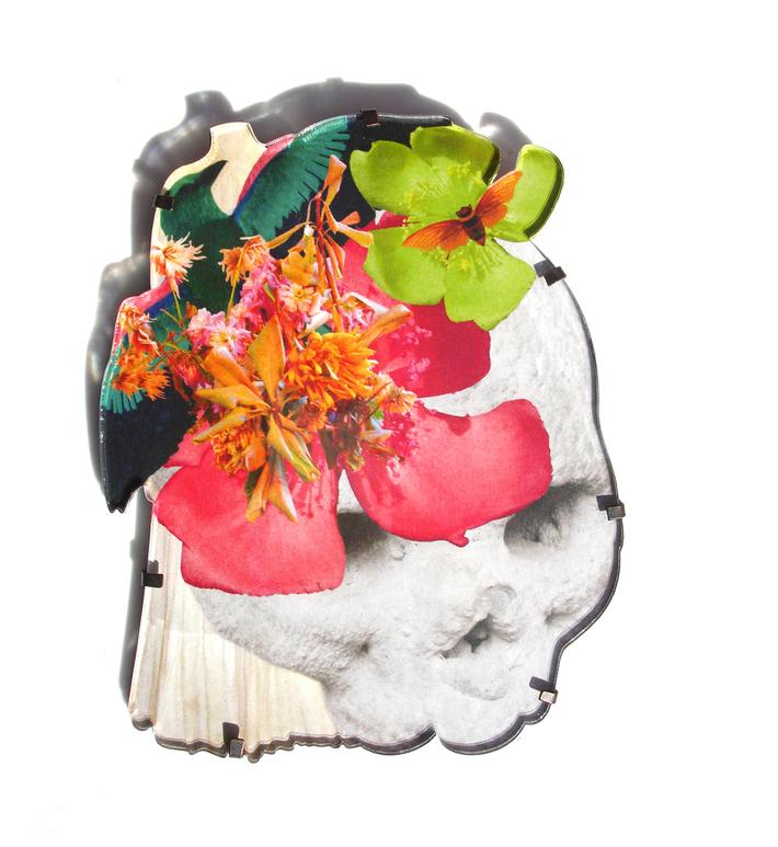 Eclectika Skull and Flower Brooch