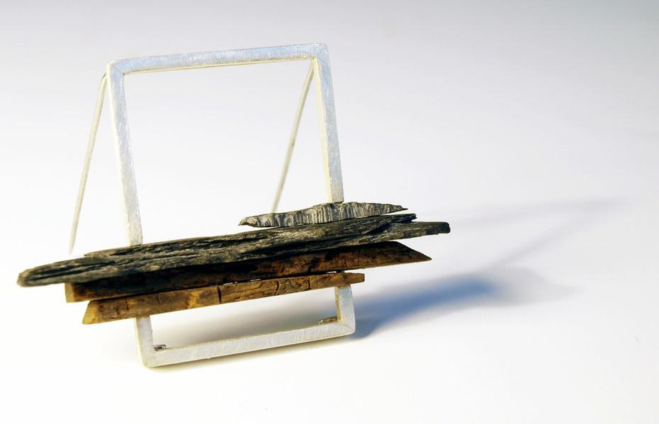 Oak, slate and silver brooch pin