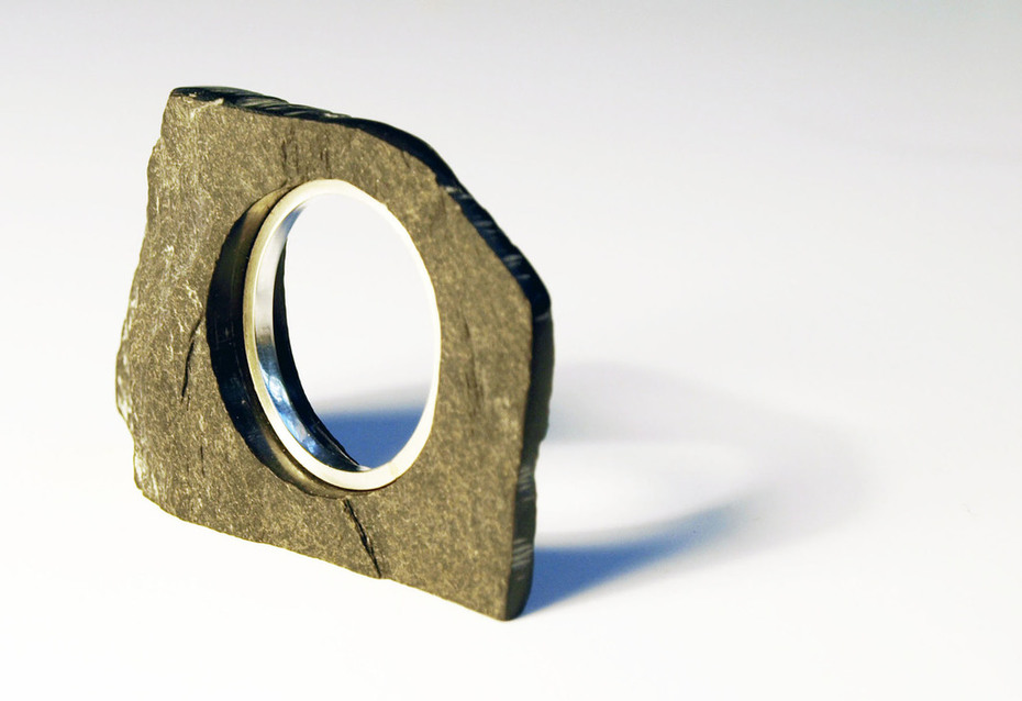 Slate and  925 silver ring