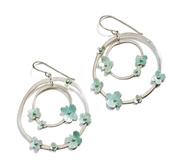 green flora orbit earrings