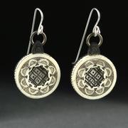 Victorian Scrimshaw & Ebony Earrings