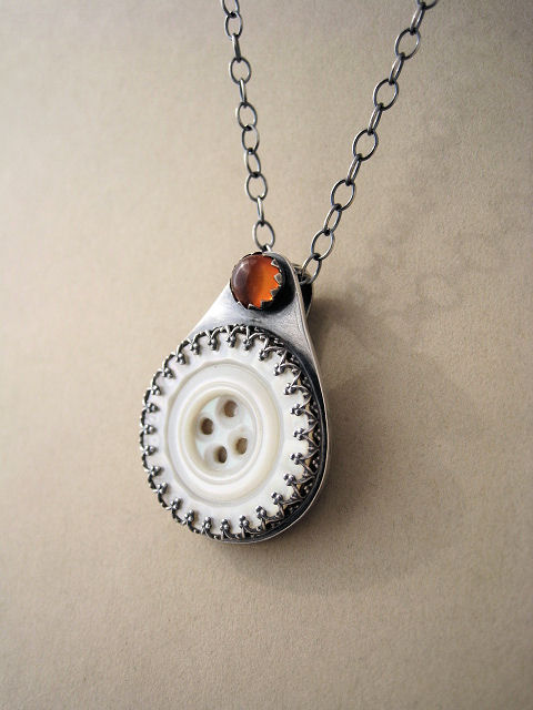 Vintage MOP Glass Button and Baltic Amber Pendant