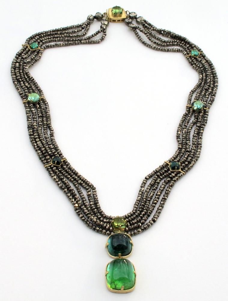 Tourmaline Pyrite Necklace