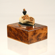 Burl wood with coral & carved ebony
