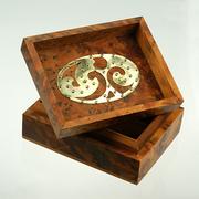 Burl wood box interior