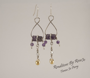 Figure Eight Amethyst & Sterling Silver Earrings with Yellow Pearls