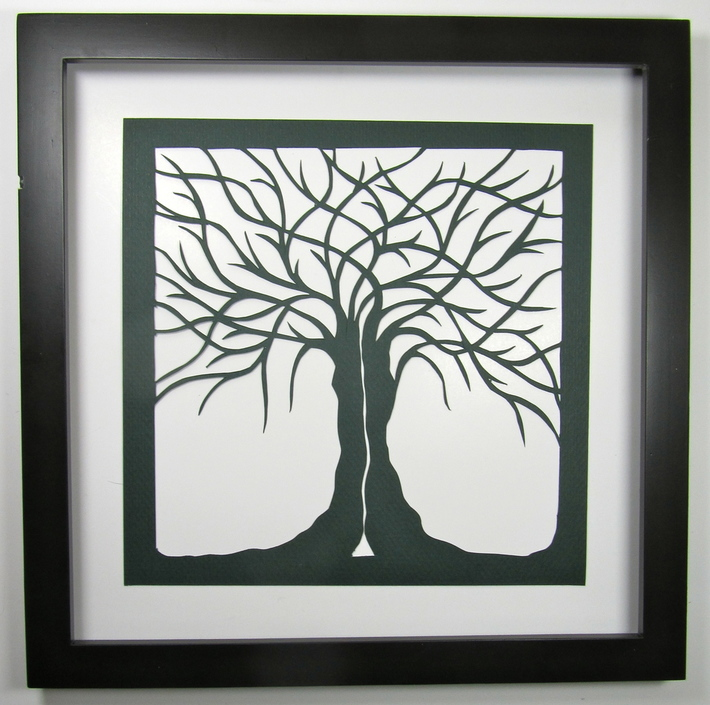 Two Trees as One Silhouette Paper cut
