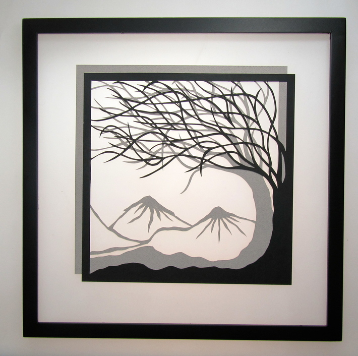 Trees of Life Silhouette Paper Cut Handmade