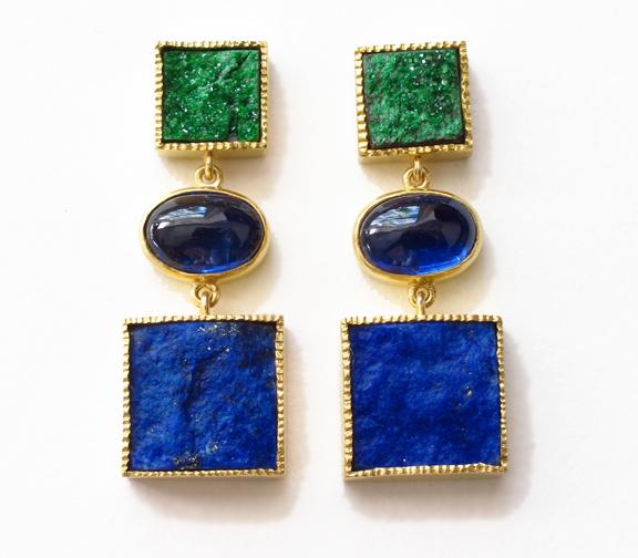 Color Block Earrings 22K