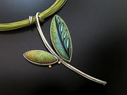 Chartreuse & Blue Leaf Pendant