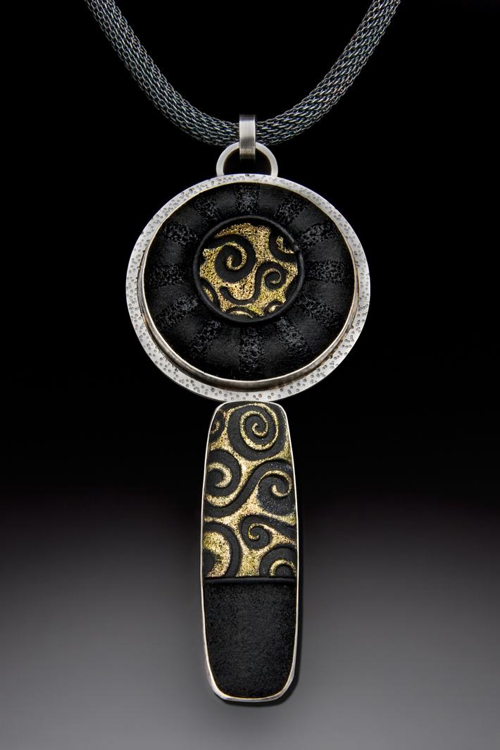 Black and Gold Brocade Pendant