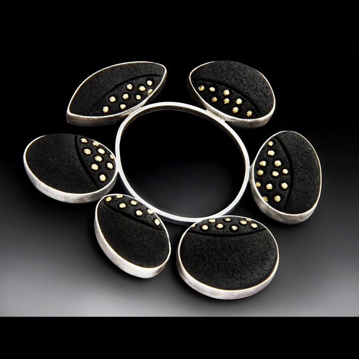 Black and Gold Dot Elements Brooch