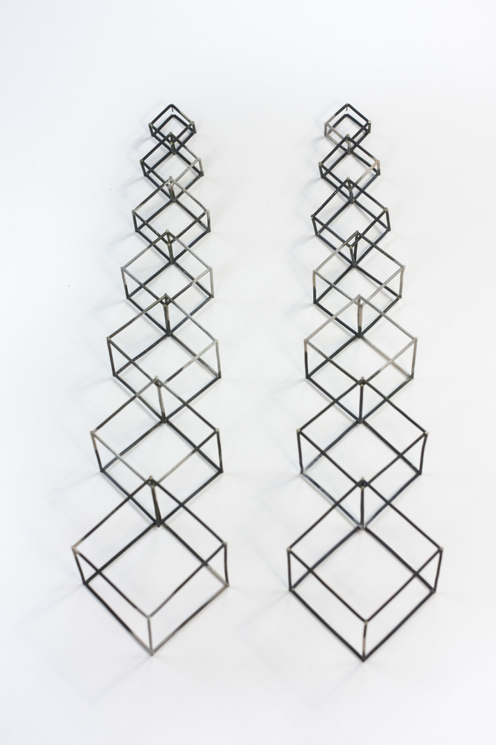 Coalescing Cubic Chain Earrings