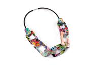 Chain Link & Rubber Graffiti Necklace