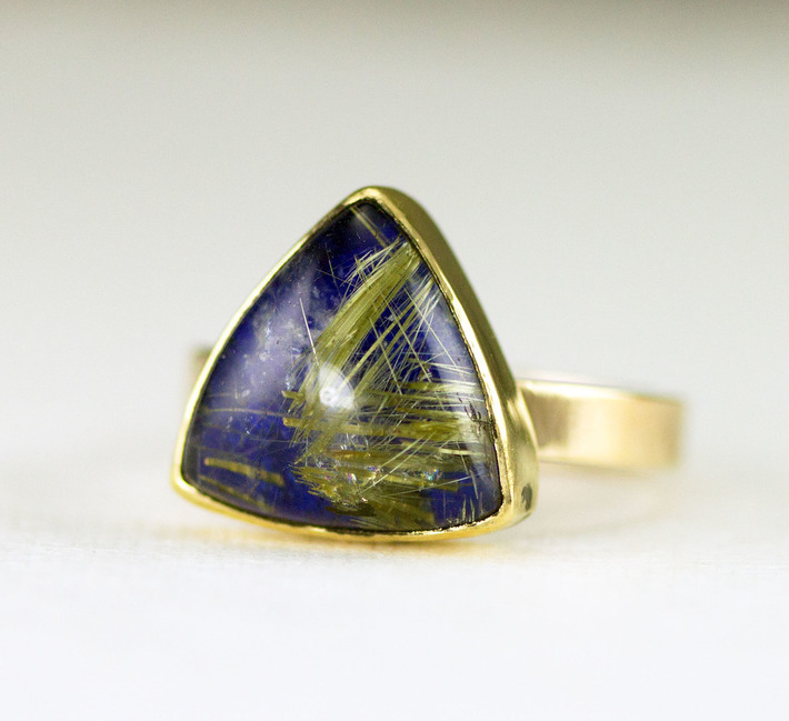 gold rutilated quartz lapis ring