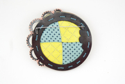 Pink and Yellow Brooch back