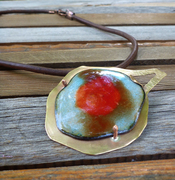 turquoise and red enameled brass necklace
