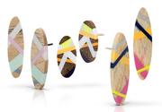 Wood and Plastic Stud Earrings