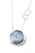 Blue Frost Enamel-Sterling Necklace
