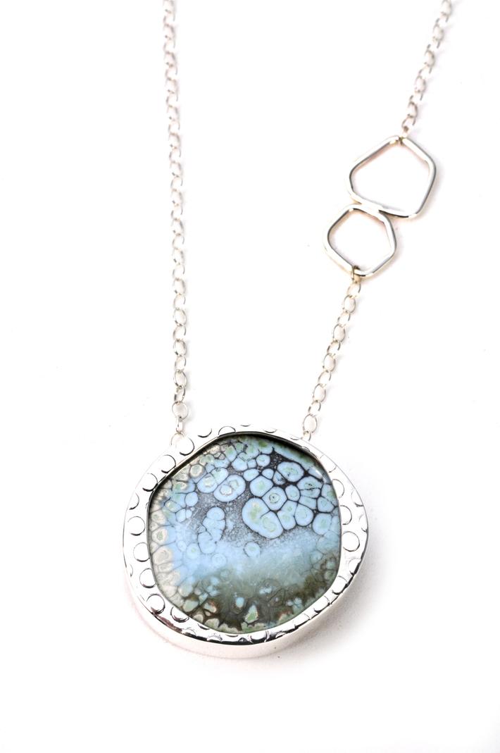 Blue Frost Enamel-Sterling Necklace