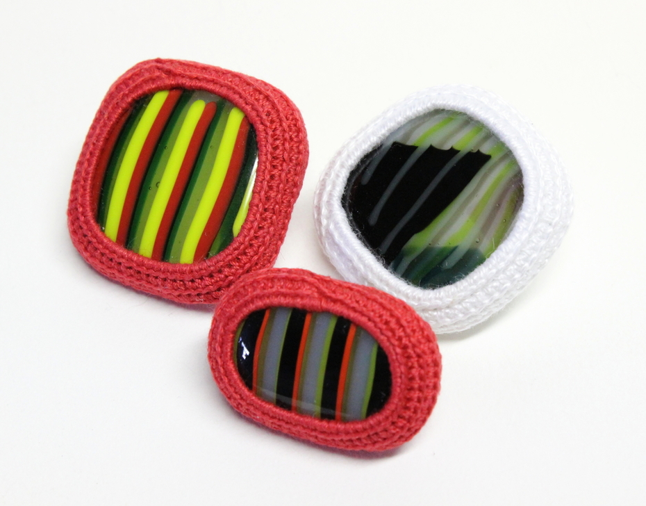 Crocheted Cotton and Fused Glass Pins