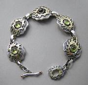 Silver and gold peridot, sapphire bracelet