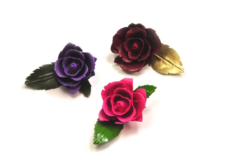Foam Rose Brooches