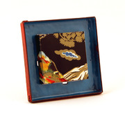 Red & blue chinese tin brooch