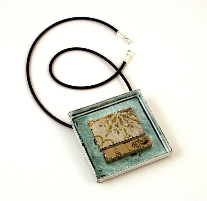White & gold enamel & tin brooch/pendant