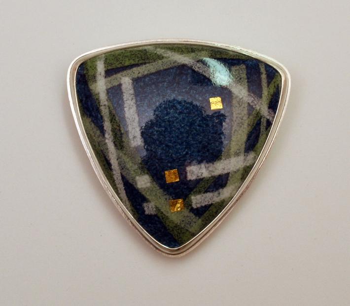 blue green stripes w gold brooch