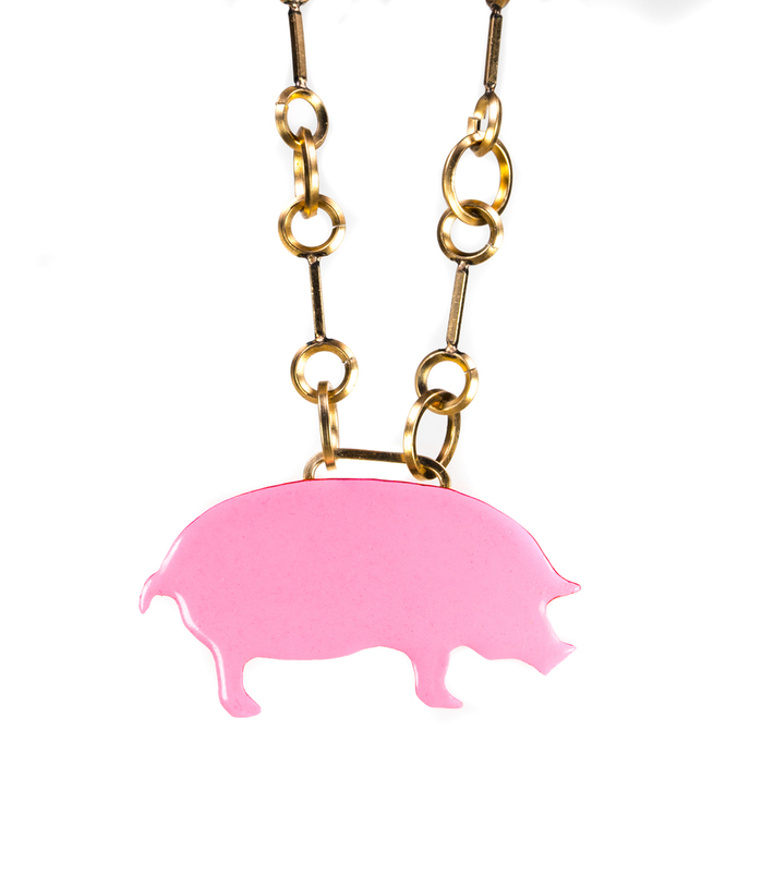 Pink Piggy Necklace