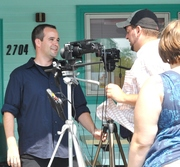 Davidson Calfee on set, filming The Single Life Movie
