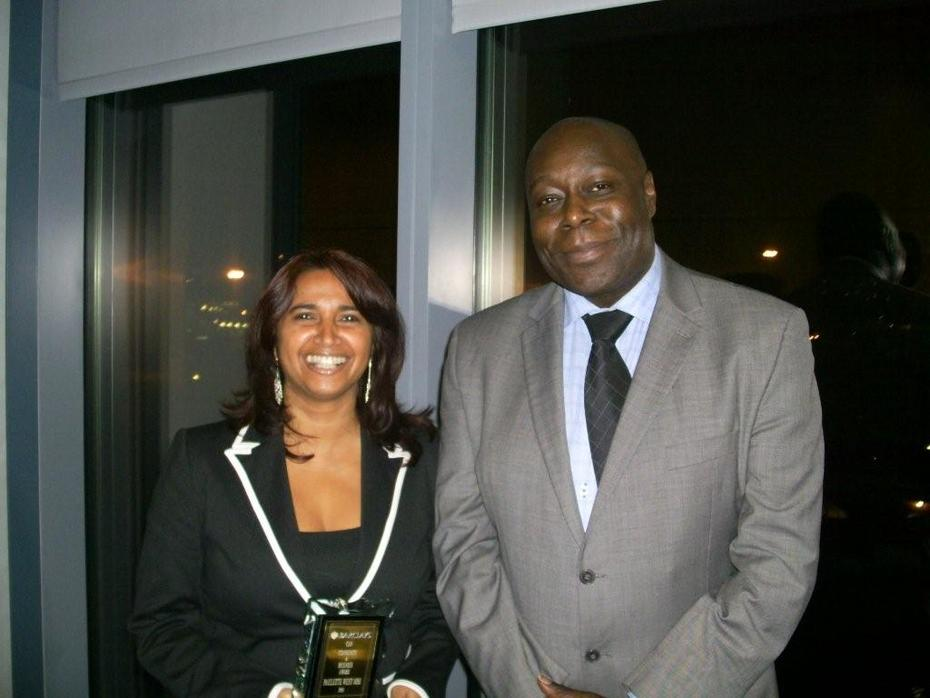Paulette West MBE and Victor Pinnock @ Barclays Wealth after collecting the CAN Community & Business Award for Black History Month - 26/10 October 2009