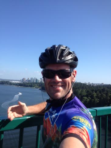 Cycling over the Lyons Gate Bridge, Vancouver, BC