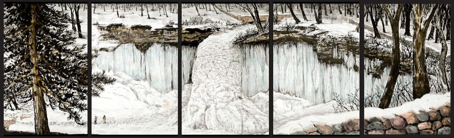 the frozen sound of Minnehaha Falls in winter