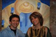 Daniele Covarino scultore  Kovart, Stephanie e dipinti Beijing blu e oro