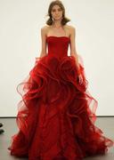 strapless layered red wedding dress