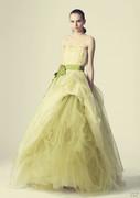 light green long a line wedding dress