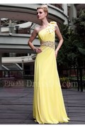 A-line One-shoulder Beading Floor-length Chiffon Prom Dresses