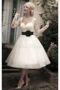 Short Long Sleeves Natural Square Wedding Dresses