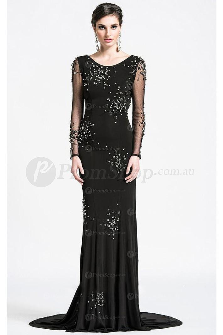 White Sheath Floor-length Backless Long Sleeves Evening Dresses