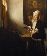 """naive study of Vermeer's """"Woman Holding A Balance"""""""