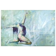 Nude Dance in Teal: Painting for sale