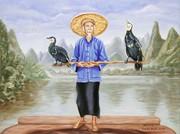 Pescatore con cormorani 80x60